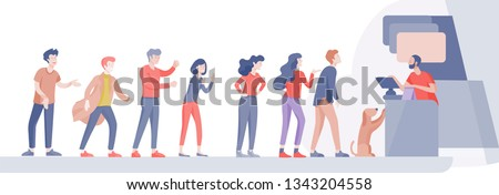 Angry People queue in supermarket with cashier, where to buy concept of shop assistant. Selling interaction, purchasing process. Dissatisfied and tired customer scream and swear
