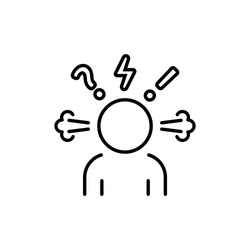 Angry person line icon. Steam is coming out from ears. Frustration, burnout, furious. Annoyed man. Stress symptom. Vector on isolated white background. EPS 10