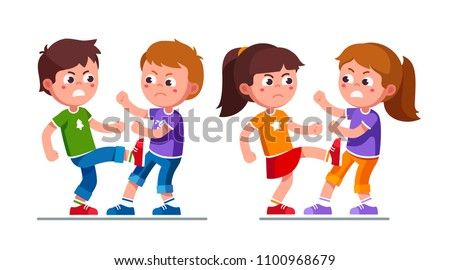 Angry preschool boys, girls kids fighting each other kicking legs. Aggressive bully kids fight. Bullying children cartoon characters set. Childhood aggression violence. Flat style vector illustration