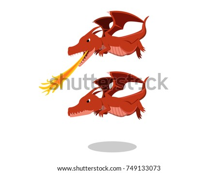 angry red dragon with fire