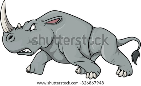 angry rhinoceros cartoon