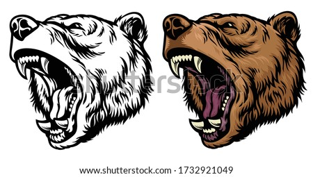 angry roaring grizzly bear head