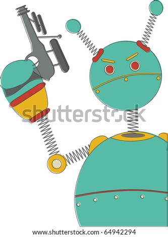 Angry Robot with sci-fi gun in retro vintage colors. - stock vector
