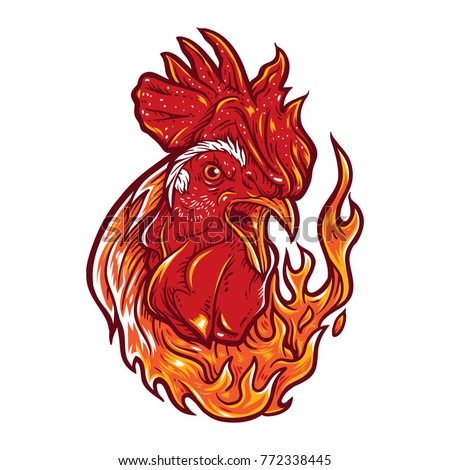 Angry rooster with flames.