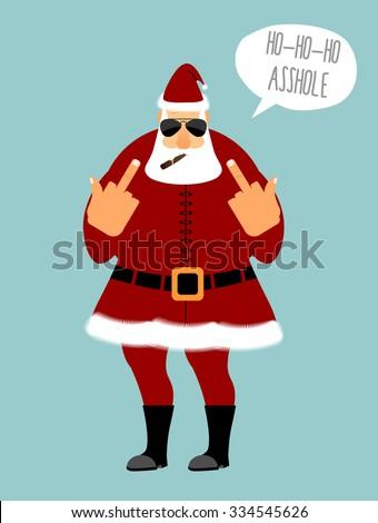 angry santa smokes cigar and