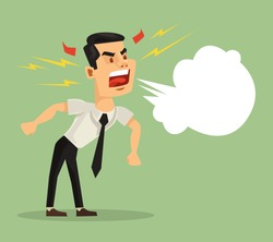 Angry screaming man. Vector flat cartoon illustration