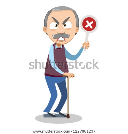 Angry senior man holding wrong check mark. Irate grandpa with walking stick cartoon animated personage. Male patient rehabilitation after illness. Old age infirmity and disability vector illustration.