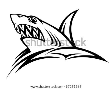 Angry shark - stock vector