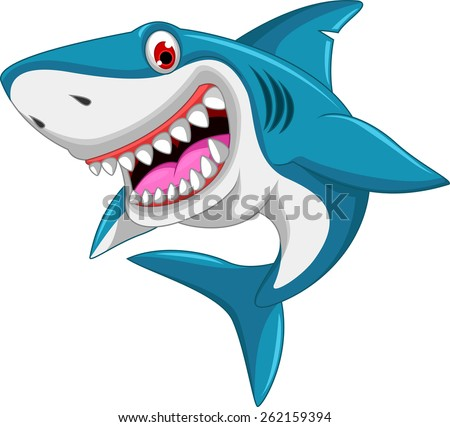 angry shark cartoon