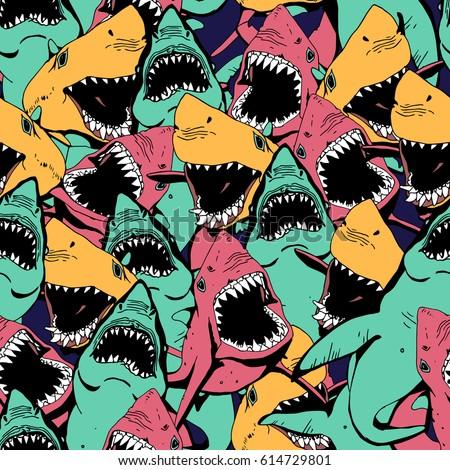 angry shark seamless pattern