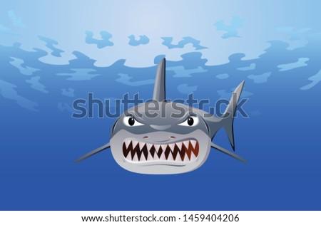 Angry shark with sharp teeth vector