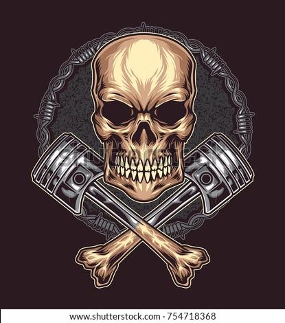 angry skull with cross bone
