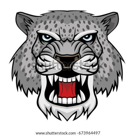 angry snow leopard head logo