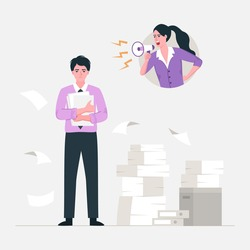 Angry stressed businesswoman is shouting employee office worker with megaphone. Vector flat cartoon character illustration.