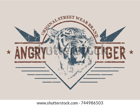 angry tiger graphic retro label