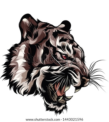 angry tiger head for t shirts