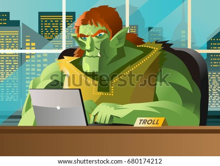angry troll using a computer in ...