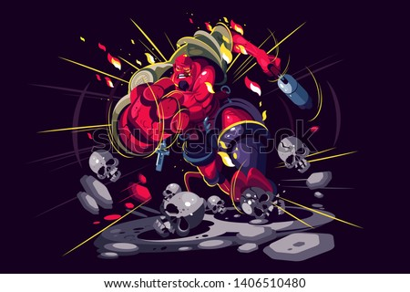 Angry warrior in action vector illustration. Infantryman with weapon in battlefield. Foot-soldier runs and shoots gun flat style concept. Isolated on dark background