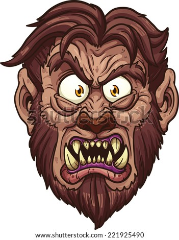angry werewolf face vector
