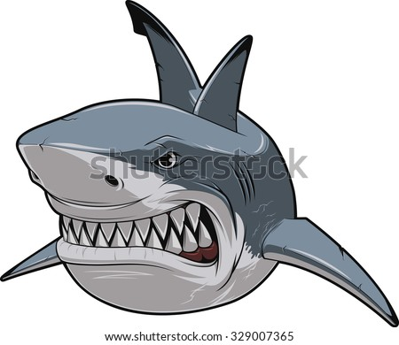 angry white shark