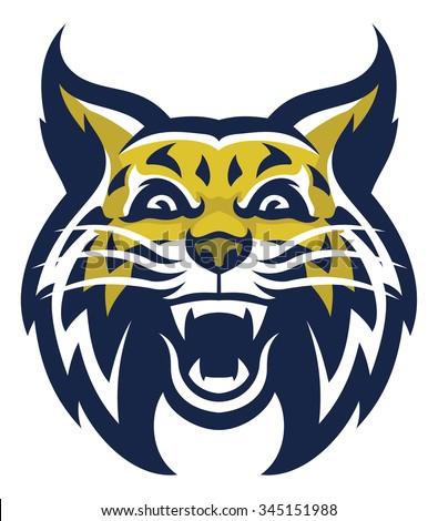 Angry wildcat mascot head
