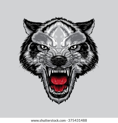 angry wolf face an angry wolf