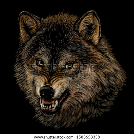 angry wolf graphic color