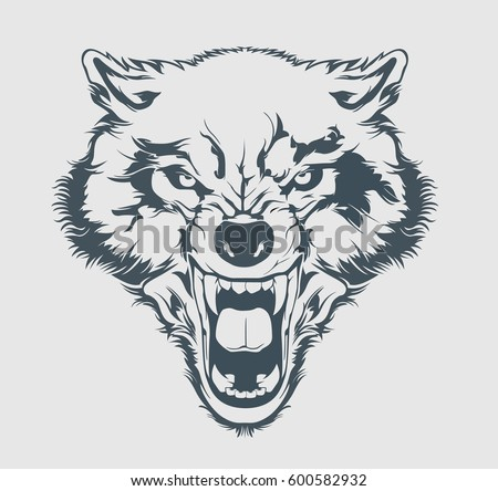 angry wolf head beautiful wolf