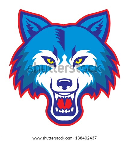 angry wolf head mascot