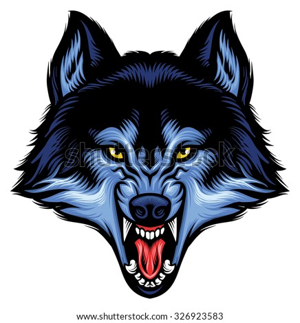 angry wolf head show his sharp