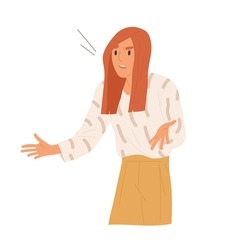 Angry woman indignation with irritated face expression vector flat illustration. Nervous girl having misunderstanding or problem isolated on white. Annoyed female feeling stress and negative emotion