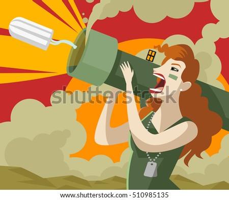 angry woman shooting a tampon