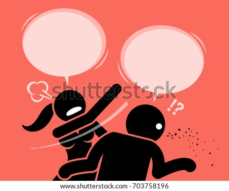 angry woman slapping a man for