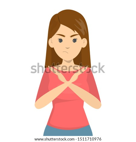 Angry woman standing with the crossed arms, no sign. Refuse gesture, negative expression. Isolated vector illustration in cartoon style Stock foto ©
