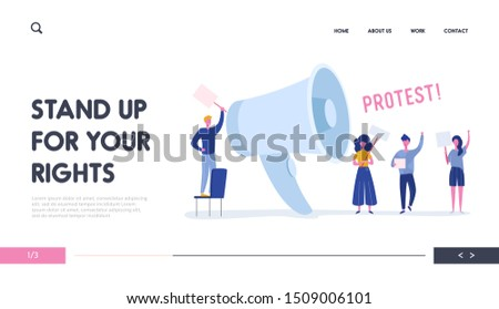 Angry Young People Holding Banners and Placards on Protest Landing Page. Political Meeting or Rally with Huge Loudspeaker. Man and Woman Protesting  on Demonstration for Banner, Website. Vector