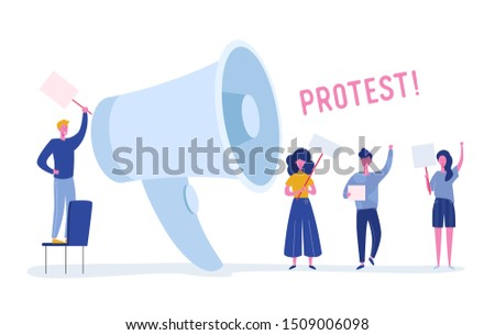 Angry Young People Holding Banners and Placards on Protest. Political Meeting or Rally with Huge Loudspeaker. Man and Woman Protesting  on Demonstration. Vector flat illustration