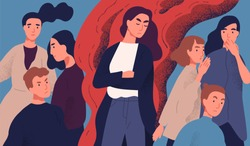 Angry young woman among people not willing to talk to her. Concept of communication problem with unpleasant arrogant annoying selfish person. Colorful vector illustration in flat cartoon style.