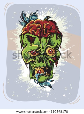 angry zombie character with eye