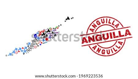 Anguilla Islands map mosaic and unclean Anguilla red circle badge. Anguilla badge uses vector lines and arcs. Anguilla Islands map mosaic includes gears, houses, lamps, suns, stars, Foto stock ©