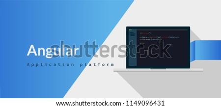 Angular Application platform, javascript  programming language with script code on laptop screen, programming language code illustration