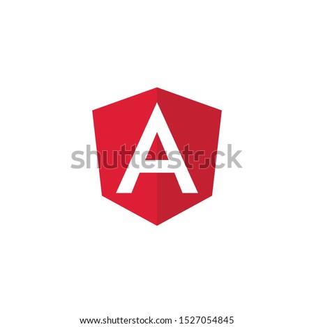 Angular emblem white letter on red background