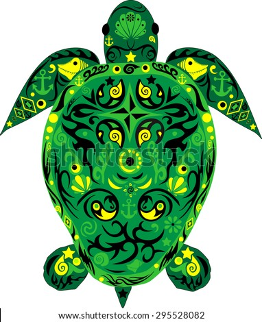 Animal a turtle, a sea animal, a green reptile, a turtle with drawing, patterns on an armor,
