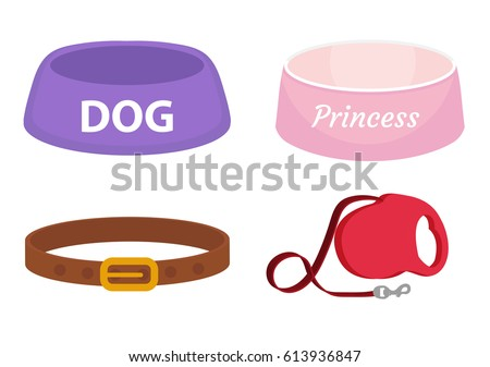 Animal accessories supplies set of icons, flat, cartoon style. Collection of items for dog care with bowl, leash, collar. Isolated on white background. Vector illustration, clip-art