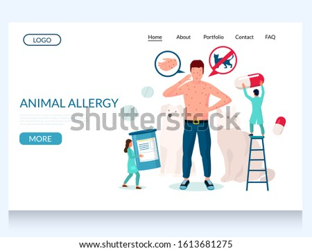 Animal allergy vector website template, web page and landing page design for website and mobile site development. Man suffering from rash, hives, eczema. Pet allergy skin symptoms diagnosis treatment.