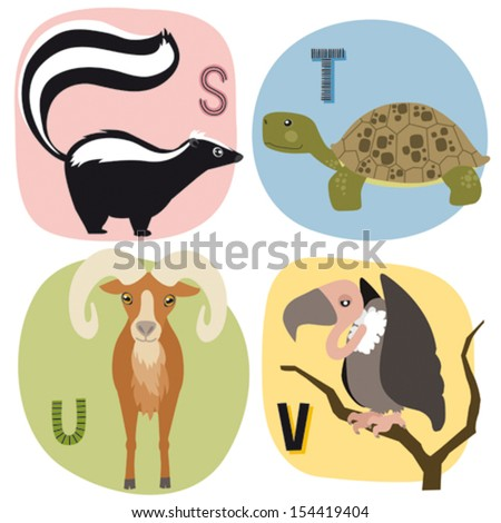 Animal alphabet for kids S-V