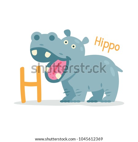 animal alphabet - H for Hippo. Cute and sweet animal hippopotamus. 100% vector