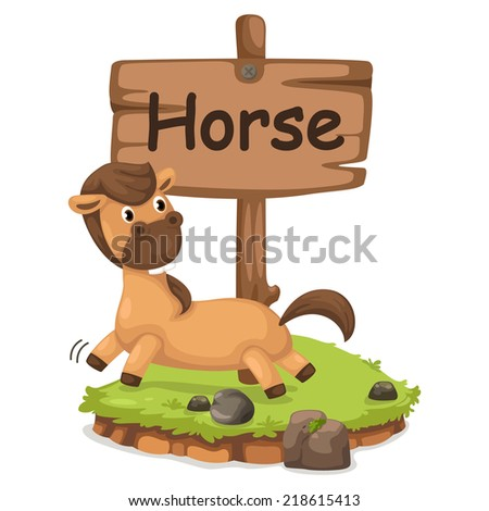 animal alphabet letter H for horse illustration vector