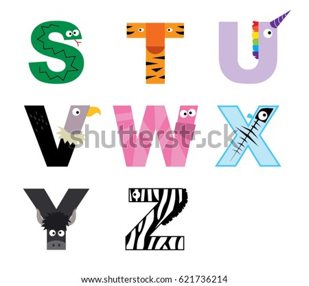Animal alphabet vector graphic S to Z Stok fotoğraf ©
