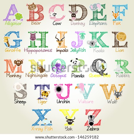 Animal Alphabet Vector Illustration EPS10