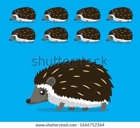Animal Animation Sequence Hedgehog Walking Cartoon Vector Stockfoto ©